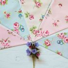 Rosebud Floral Nine Pennant Cotton Bunting (Price inc P&P)